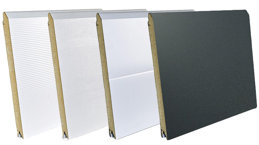 Panneaux de porte de garage en acier galvanisé micro-rainuré, woodgrain, mono-rainuré, lisse deep Mat